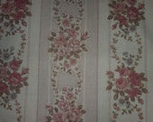 Beautiful floral in stripe formation by Robert Kaufman tan background with pink roses and vines