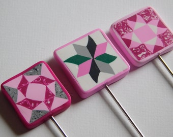 Quilters T Pins, decorative polymer clay quilt block pin toppers, set of three