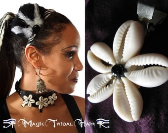 3 or 6 x COWRY BELLY DANCE flower hair clip Tribal Fusion hair flower Belly Mermaid costume accessory with cowries Rockabilly hair jewelry