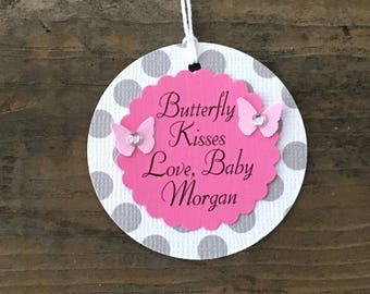 Baby Girl Butterfly Kisses Tags - Personalized - Pink and Gray Polka Dot - Baby Shower - Birthday Party - Favor Gift Tags