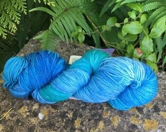 "100grms hand painted merino/nylon /stelina yarn ""  teals  """