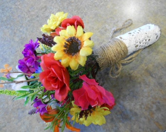 Silk Wildflower Rustic Bridal Bouquet. Small size. Burlap and Lace handle. Baby Sunflower Daisy Poppy Pod Orange Tiger Lily Blue Bell Flower