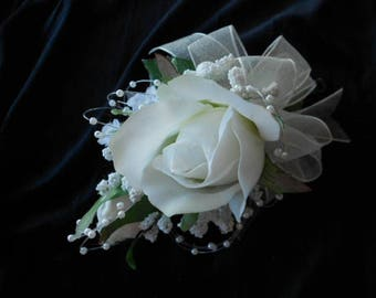 Prom Wrist Corsage and Man's Boutonniere. REAL TOUCH White ROSES. Choose wrist style or pin-on style corsage. Mother of the Bride Flowers.