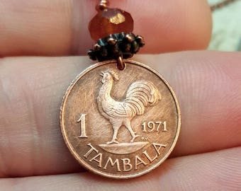 1971 Rooster Necklace. Coin Jewelry. Vintage Malawi COIN NECKLACE. Year of the rooster. 46th birthday. Copper coin pendant. Rooster pendant.
