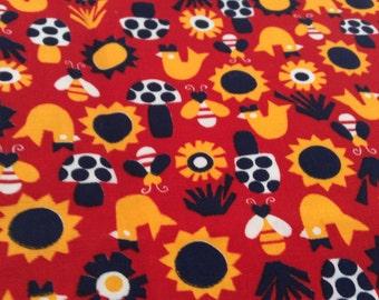 Retro  Fabric - Flower Power - Mushrooms - Red Yellow Navy White - Pillow Upholstery - Twill  - Clothing - Mid Century - Decorator - 1+ Yard