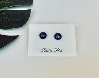 Blue & purple swirl pattern dichroic glass medium studs - fused glass on sterling silver