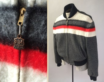 Campus Vintage 1950s Striped Wool Rockabilly Jacket Charcoal, Red, White, Black Nylon Reverse