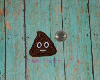 "Poop Feltie - 2"" small brown felt embroidered - Great for Hair Bows, reels or Crafts - Pile of Poo"