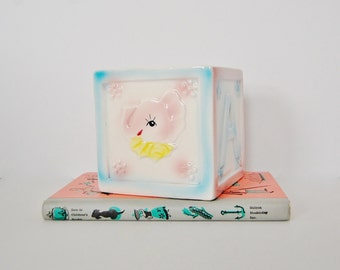 Pink Elephant Planter, Vintage Baby Alphabet Blocks Square Planter, Letter A