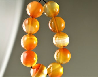 Luscious Translucent Natural Carnelian Round Bead - 12mm - 10 beads - B6449