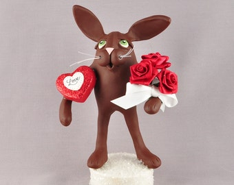 Polymer Clay Chocolate Bunny Valentine's Day Figurine