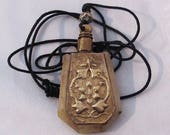 Vintage Antique Carved Bone Ornate Brass Plate Perfume Locket Necklace Pendant Jewelry