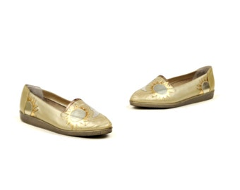 Vintage 1980's Pale Metallic Gold Leather Sun + Moon Silver Slip On Loafers Patchwork Shoes 8