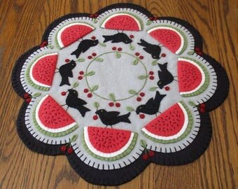 Crow's Picnic Penny Wool Candle Mat