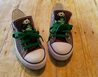 Panda Bear, panda sneakers, glitter shoes, gray sneakers, Panda Bear theme