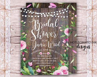 Wood Bridal Shower Invitation  Fall Garden Bridal Shower Outdoor Bridal  Shower Invitation