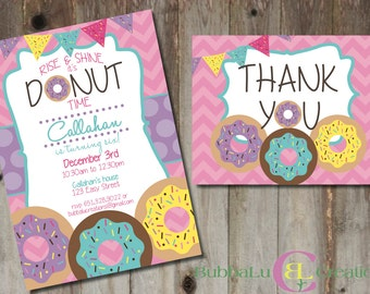 Donut Birthday Invitation and matching Thank You. Personalized Donut Invite. Donut Birthday. Custom Birthday Invitation. Donut Party.