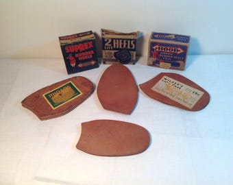 Vintage Shoe Repair Heels and Leather Soles 1940's Great Graphics New-Old-Stock