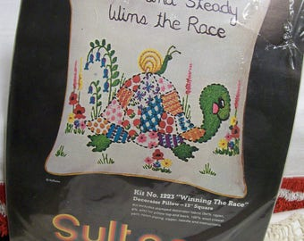 """Vintage Needle Craft Kit,  Slow and Steady Wins the Race, Turtle Pillow, Sultana Creative Decorator Pillow, 13"""" , Vintage Crewel Embroidery"""