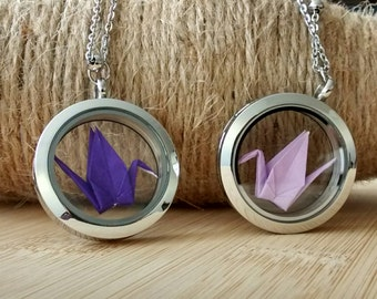 Glass locket necklace-stocking stuffers-lucky origami crane charm-magnetic glass floating charm locket-gift under 10-gift for best friend