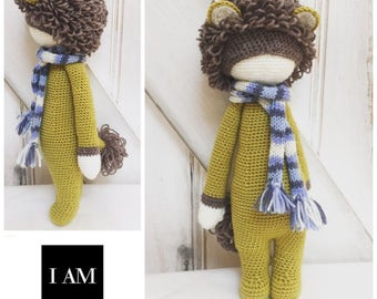 Handmade Crochet Golden Lion 100% Merino Wool