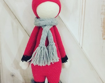 Handmade Crochet Red Fox  100% Merino Wool