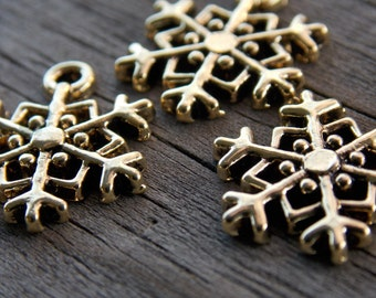 16 Antiqued Gold Snowflake Charms 18mm