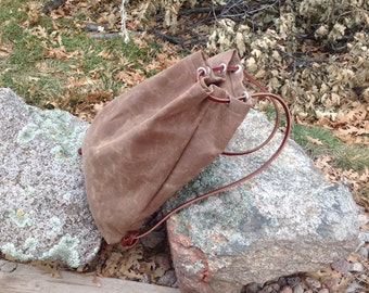 Waxed Canvas and Leather Day Pack- Backpack- Drawstring Backpack