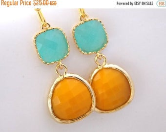 SALE Blue Earrings, Mustard Earrings, Glass, Gold Blue Earrings, Mint Earrings, Light Blue, Aqua, Turquoise, Yellow, Bridesmaid Gifts