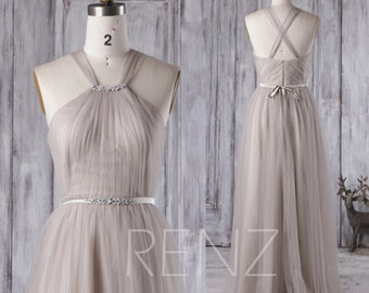 Light Gray Bridesmaid Dress with Beading, Long Soft Tulle Wedding Dress, Criss Cross Straps Prom Dress, Evening Gown Floor Length (HS266)