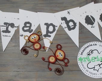 Scrapbook embellishment,quilled scrapbook embellishment,baby monkey,paper quilling,decoration,quilling