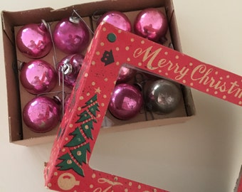 Vintage Pink Christmas Tree Ornaments