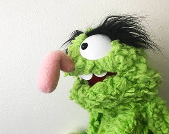 Professional Green Furry Monster Puppet