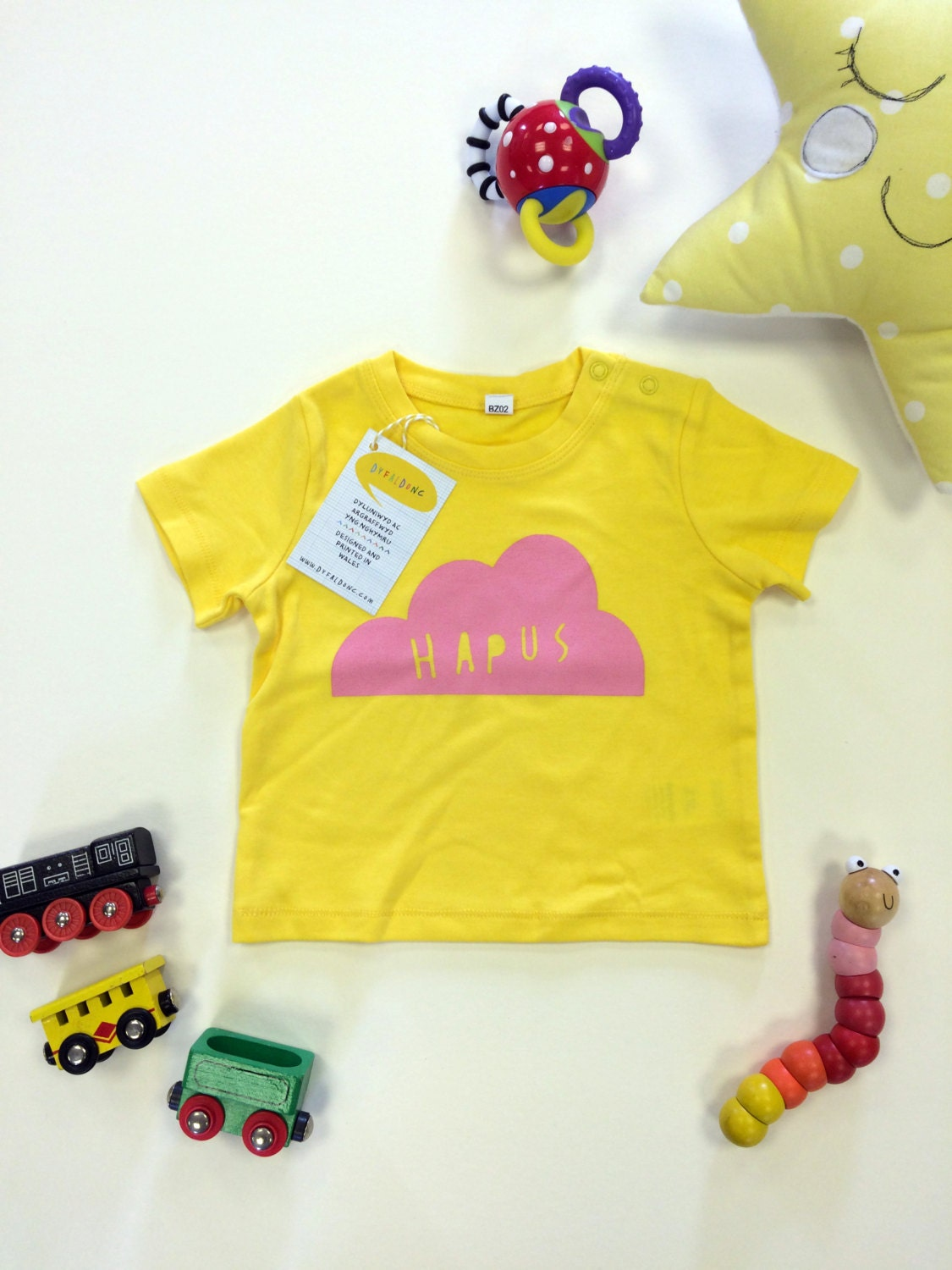 sale   baby clothes yellow t shirt welsh text hapus happy