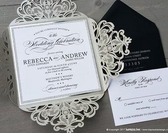 Laser Cut Filigree Lace Wedding Invitation Sample Silver Glitter Foil