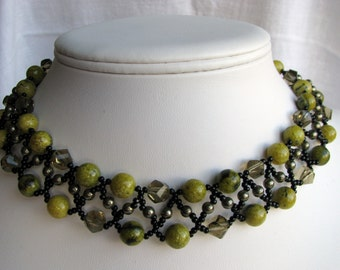 Yellow Green Necklace, Natural Stone Choker, Black Beadwoven Necklace, Antique Brass Earwires, Necklace Earring Set