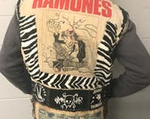 Vintage 1980s Punk Rock Vest Handcrafted Metal Studded