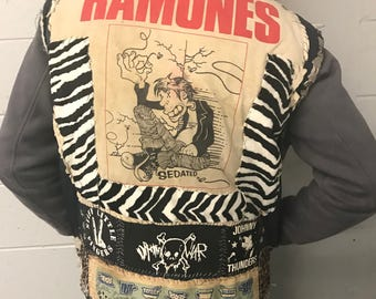 Vintage 1980s Punk Vest Handcrafted Metal Studded