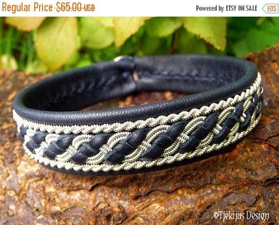 Sami Viking Bracelet Norse FAFNIR Cuff Custom Handmade Women and Mens Bracelet in Navy Blue Reindeer Leather from Tjekijas Design