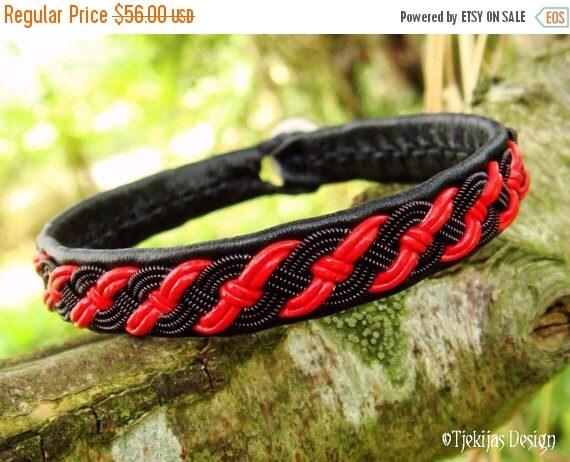 VALHALLA Sami Pagan Gothic Viking Black Red Leather Bracelet Custom Handmade Nordic Spirit with spun Black copper Braid on Reindeer Leather