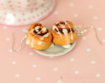 Cinnamon Buns Earrings - Food Earrings - Cinnamon Rolls Earrings - Danish Pastry Dangle Earrings - Miniature Food Jewelry - Kawaii Earrings