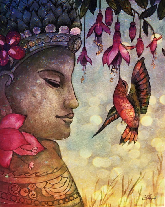 Meditation art print by Claudia Tremblay water color
