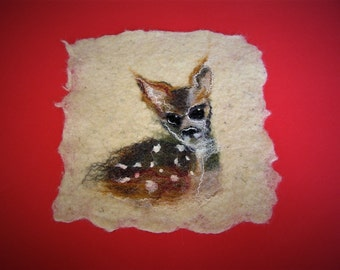 Wool painting, wool home decor, wet felted painting, child room decor, wool deer painting, handfelted wool painting, deer home decor, ooak