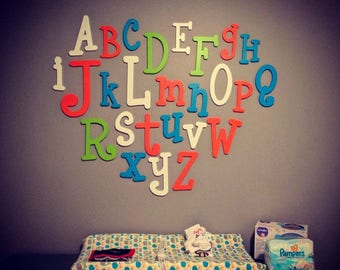 Nursery Decor Alphabet Letters Set - Wall Hanging Letters for Nursery - Baby Room Decor - Wooden Alphabet - Wall Decor