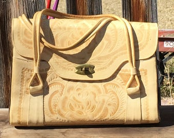 Vintage Tooled Leather Handbag,Mexican Made 1950s,Tan Leather Purse,Shabby Chic,Boho,Purse Collector,Ethnic Wardrobe,Western Style Purse