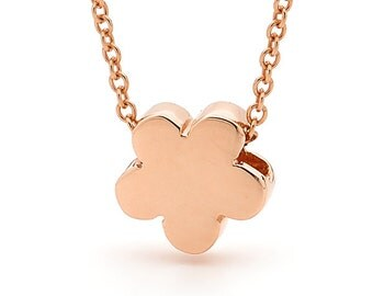 Rose gold blossom necklace, Small Rose  Gold Flower Pendant on a Rose Gold cable chain
