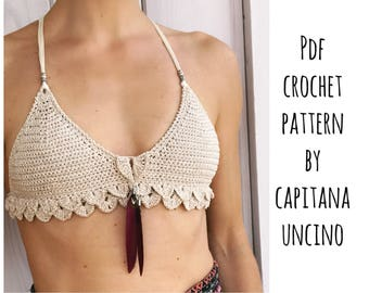 PDF-file for Crochet PATTERN for Ariella Mermaid Bralette, Sizes XS-L