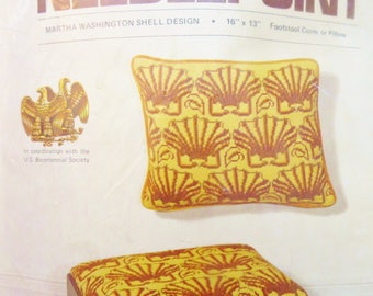 Columbia Minerva Needlepoint Kit, Footstool Cover or Pillow, Martha Washington Shell Design,Wool yarns, 16 x 13 in, Printed Canvas