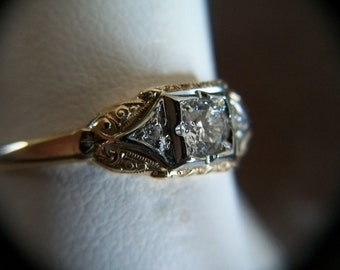Vintage Jabel 14K & 18K Solitaire Diamond Ring 2 Side Diamonds Size 7 .23ctw Appraised at 1250.00