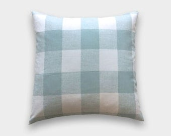 Snowy Blue Buffalo Check Throw Pillow Cover. Light Blue and White Gingham. Buffalo Check. Plaid Decorative Cushion Cover.